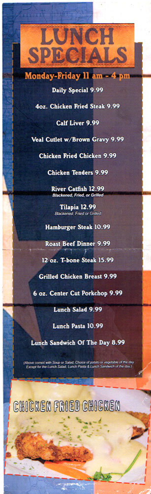 Lunch Specials at Texas A1 Steaks & Seafood in Portland & Corpus Christi,Texas.