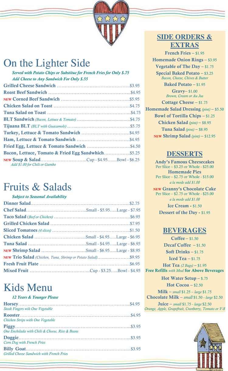 Country Kitchen Restaurant Menu corpus christi restaurants - andy's country kitchen restauran