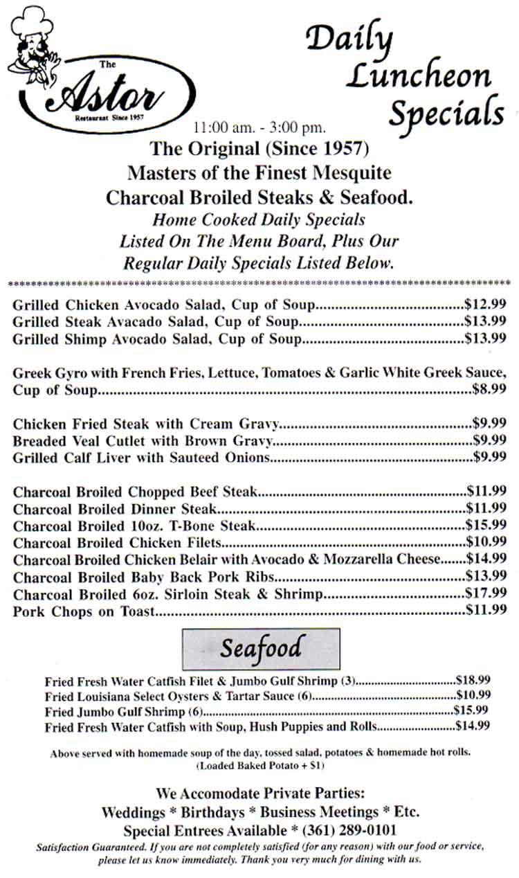 The Astor Restaurant since 1957!