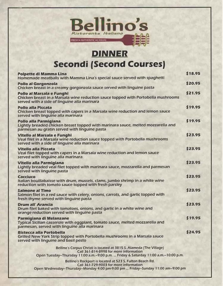 Bellino S Italian Restaurant In Corpus Christi Texas