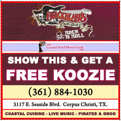 Free Koozie at Blackbeard's Restaurant in Corpus Christi, Texas.