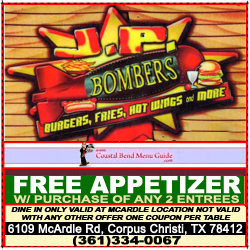 JP Bombers Restaurant - Corpus Christi Dine-In Coupons - Free Appetizers