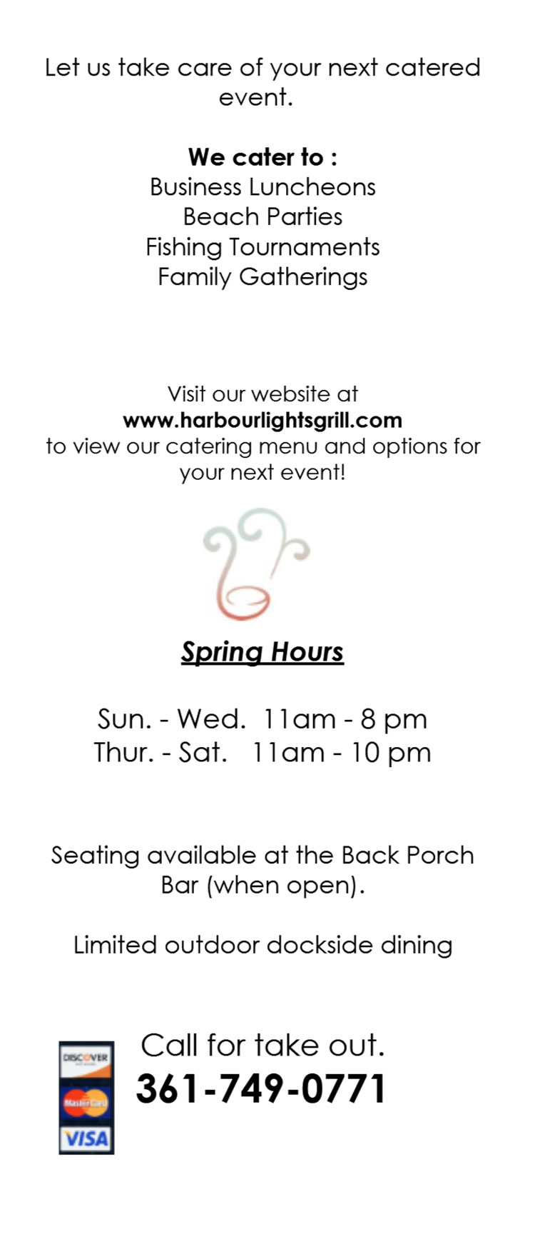 Harbour Lights Catering & Grill Restaurant Menu at Woody's & The Back Porch in Port Aransas, Texas.
