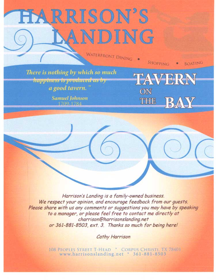 Harrison's Landing Restaurant Menu in Corpus Christi, Texas.