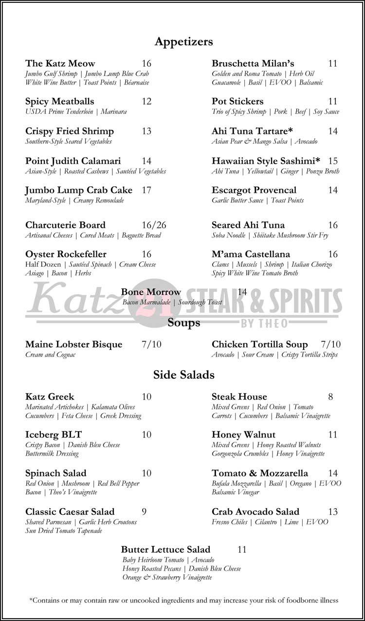 Katz 21 Steak & Spirits Dinner Menu in Corpus Christi, Texas.