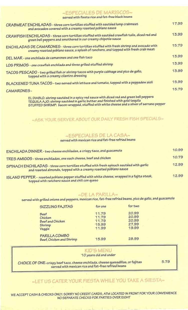 La Playa Mexican Grill Port Aransas Texas Menu