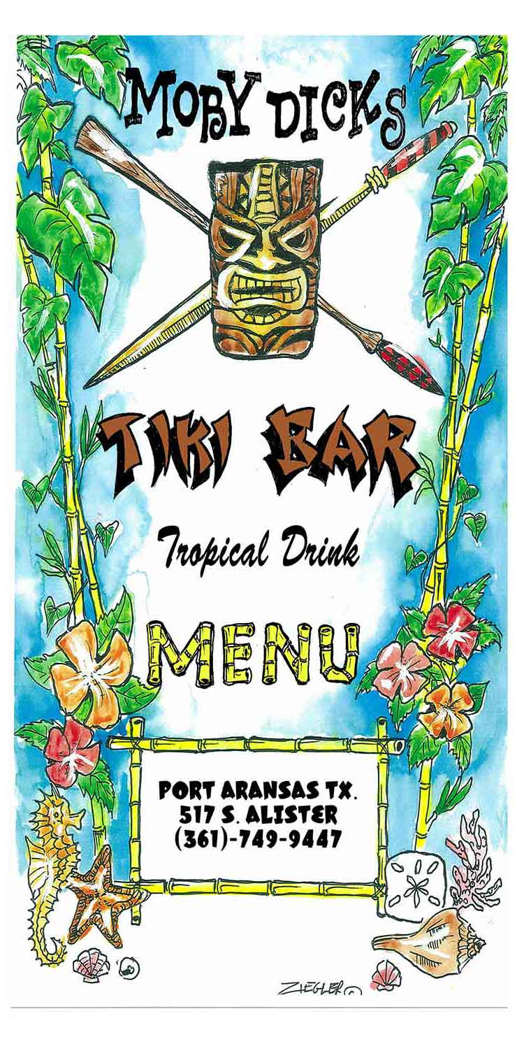 Moby Dick's Drink Menu in Port Aransas, Texas.