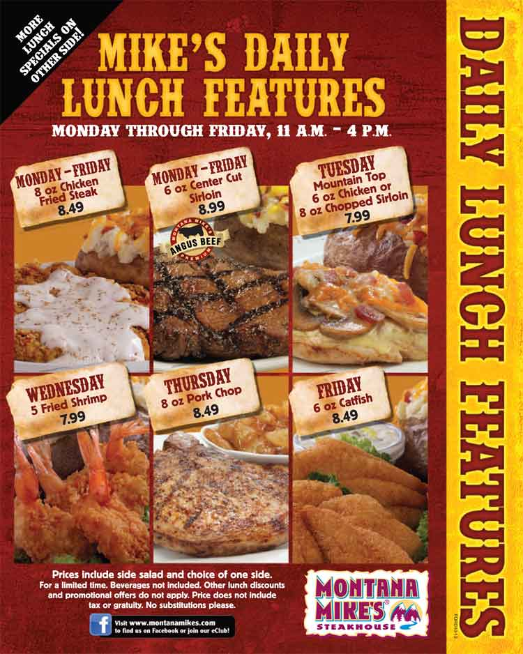 6 for 6 Lunch Features at Montana Mike's Steakhouse - Coastal Bend Menu Guide - Corpus Christi, Texas