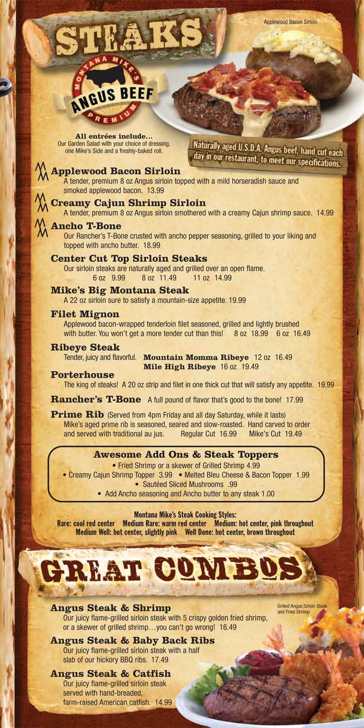 Montana Mike's Steakhouse Menu - Steaks & Great Combos - Corpus Christi Restaurants