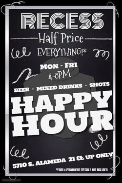 Recess Bar & Grill in Corpus Christi - Happy Hour