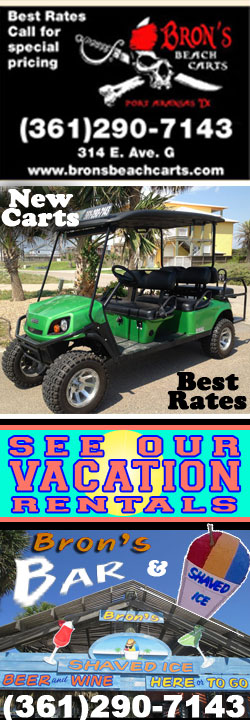 Bron's Beach Cart Rentals • Bron's Bar & Shaved Ice • Vacation Rentals in Port Aransas, Texas.