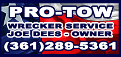 Pro Tow Joe Dees wrecker and tow services in Corpus Christi, Texas.