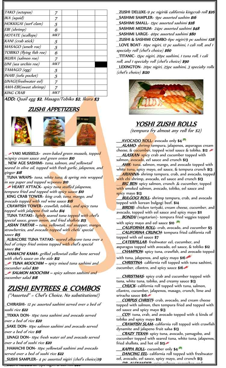 Yoshi Zushi Sushi Restaurant Menu in Corpus Christi, Texas.